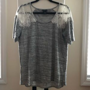 Torrid Lace Shoulder Short Sleeve Shirt, Size 0